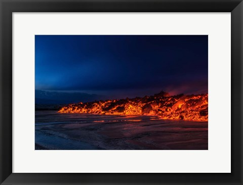 Framed Glowing Lava, Iceland Print