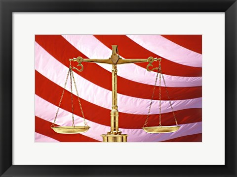 Framed Scales of Justice American Flag Print
