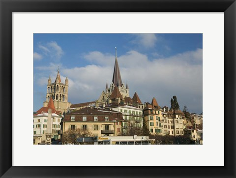 Framed Cathedral, Lausanne, Switzerland Print