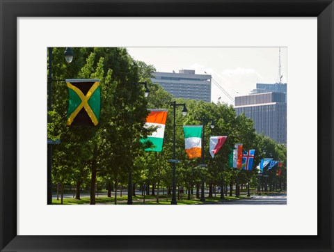 Framed National Flags, Philadelphia, Pennsylvania Print