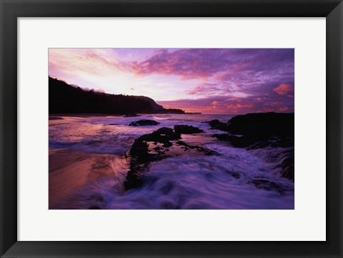 Framed Lumahai Beach at Sunset, HI Print