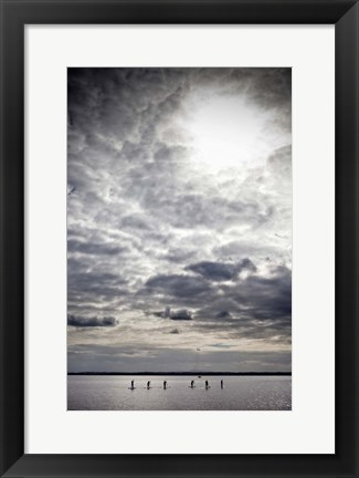 Framed Paddle Boarders on Strangford Lough, Northern Ireland Print