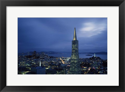 Framed Transamerica Pyramid, Coit Tower, San Francisco, California Print