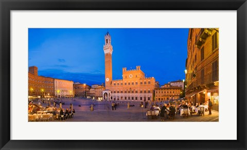 Framed Clock Tower, Torre Del Mangia, Tuscany, Italy Print
