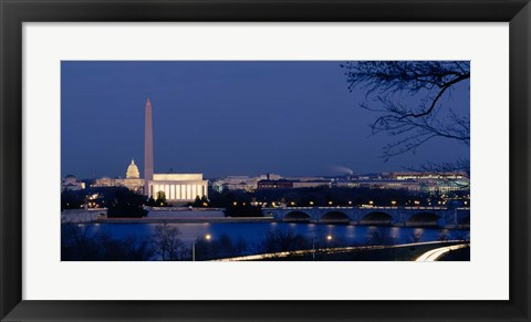 Framed Washington Monument, Lincoln Memorial, Capitol Building, Washington DC Print