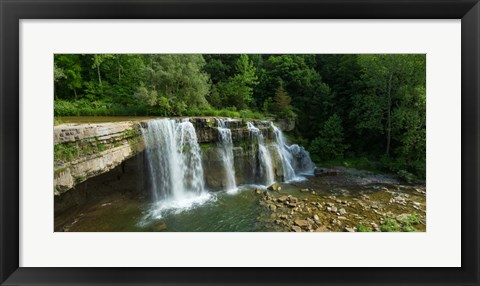 Framed Ludlowville Falls on Salmon Creek, Finger Lakes, New York State Print