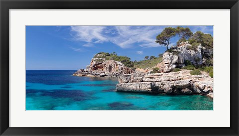 Framed Cala S'Almunia bay, Santanyi, Majorca, Balearic Islands, Spain Print