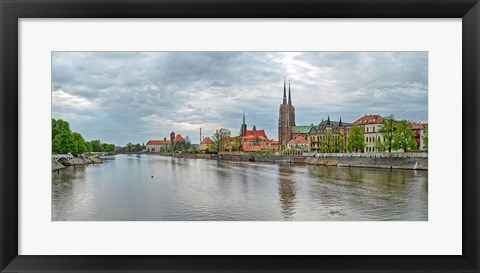 Framed Oder river and Cathedral island in Wroclaw, Poland Print