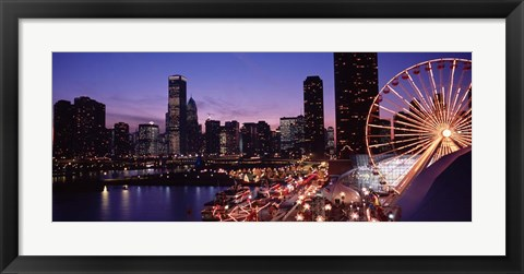 Framed Ferris wheel at Dusk, Navy Pier, Chicago Print