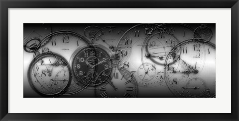 Framed Montage of Old Pocket Watches Print