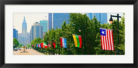 Framed National Flags of the Countries at Benjamin Franklin Parkway, Pennsylvania Print