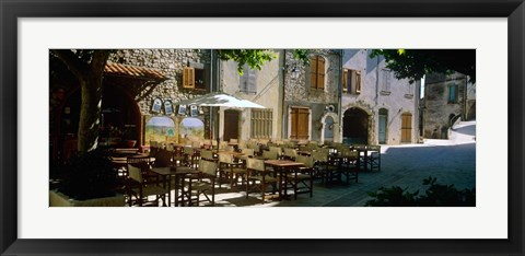 Framed Cafe in a Village, Claviers, France Print
