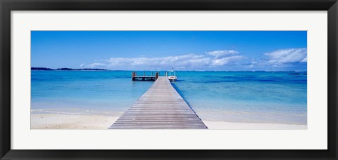 Framed Jetty on the beach, Mauritius Print