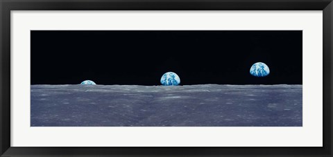 Framed Earth Viewed From The Moon Print