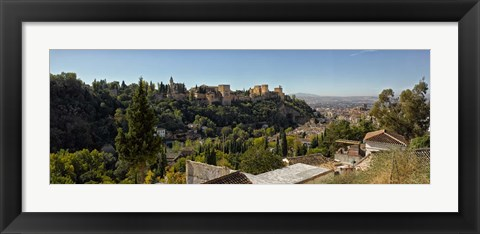 Framed Alhambra Palace from Sacromonte, Granada, Andalusia, Spain Print
