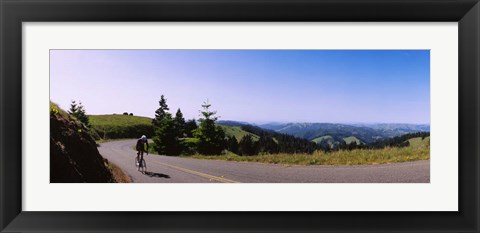 Framed Cycler on Mt Tamalpais, Marin County, California Print