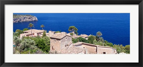Framed Hamlet by the Sea, Balearic Islands, Spain Print