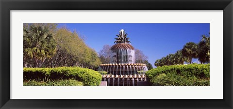 Framed Pineapple fountain in a park, Waterfront Park, Charleston, South Carolina, USA Print