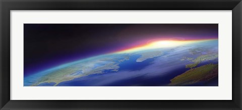 Framed Sun Rising over the Earth Print