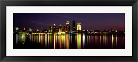 Framed Louisville, KY at Night Print