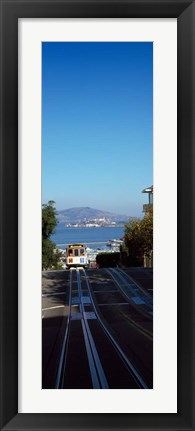 Framed Cable Car near Alcatraz Island, San Francisco Bay Print
