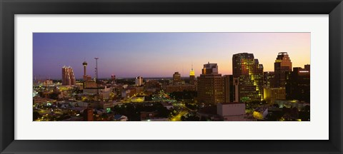 Framed San Antonio, Texas Buildings at Dusk Print