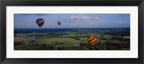 Framed Hot air balloons floating in the sky, Illinois River, Tahlequah, Oklahoma, USA Print