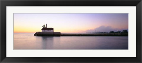 Framed Lighthouse At The Waterfront, Duluth, Minnesota Print