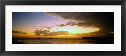 Framed Key West Sea at Sunset, Monroe County, Florida Print