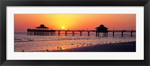 Framed Sunset at Fort Myers Beach, FL Print