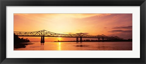 Framed Bridge At Sunset, Mississippi Print