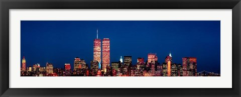 Framed New York City Skyline with World Trade Center Print