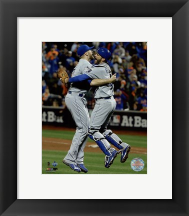 Framed Wade Davis & Drew Butera celebrate winning Game 5 of the 2015 World Series Print