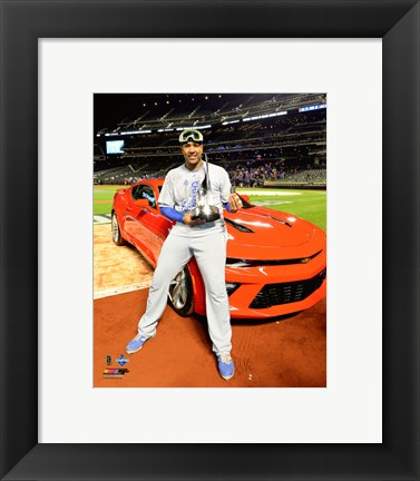 Framed Salvador Perez with the World Series MVP Trophy Game 5 of the 2015 World Series Print