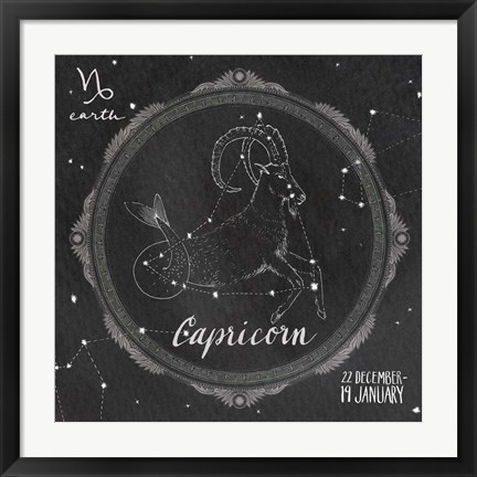 Framed Night Sky Capricorn Print