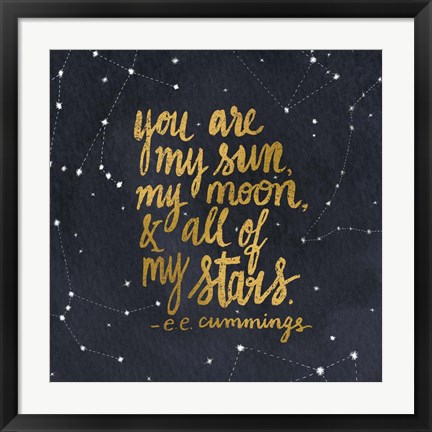 Framed Starry Words III Gold Print