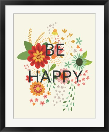 Framed Groovy Florals II Be Happy Print