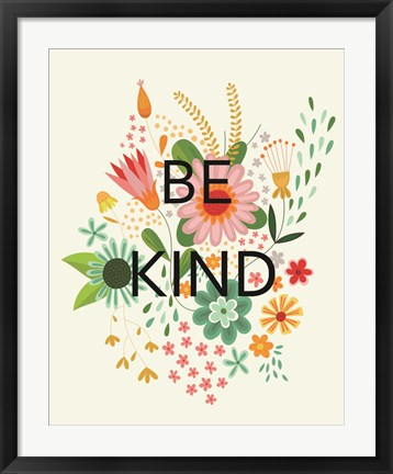Framed Groovy Florals I Be Kind Print