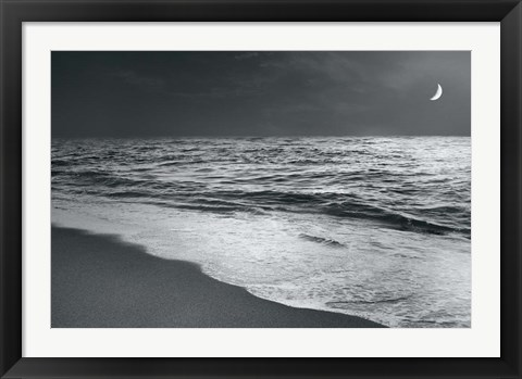 Framed Moonrise Beach Black and White Print
