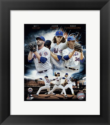 Framed 2015 New York Mets Pitchers- Matt Harvey, Jacob deGrom, & Noah Syndergaard Portrait Plus Print