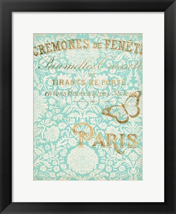 Framed Paris in Gold II Print