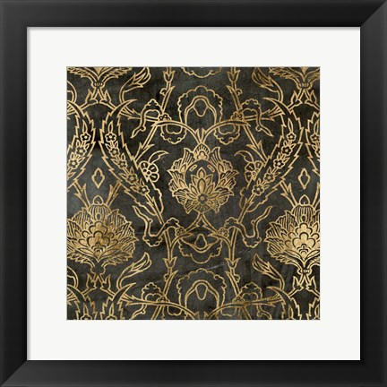 Framed Golden Damask II Print