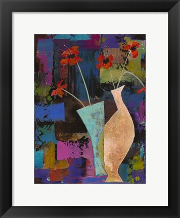 Framed Abstract Expressionist Flowers I Print