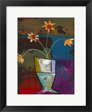 Framed Abstract Expressionist Flowers II Print