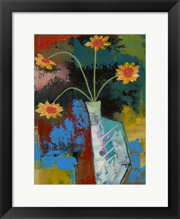 Framed Abstract Expressionist Flowers III Print