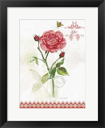 Framed Flower Study on Lace XIII Print