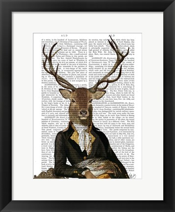 Framed Deer in Chair Print