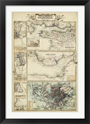 Framed Map of the Coast of England II Print