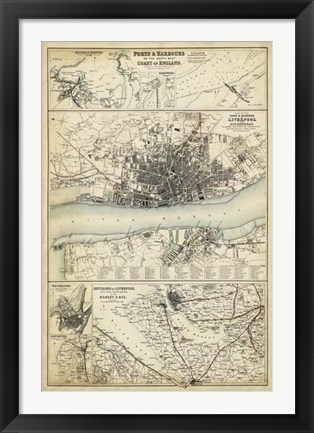 Framed Map of the Coast of England IV Print