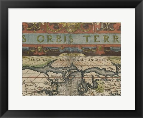 Framed Antique World Map Grid II Print